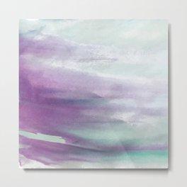 Purple green watercolor swash Metal Print