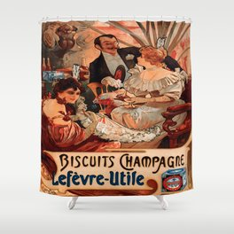 Vintage poster - Biscuits Champagne Shower Curtain