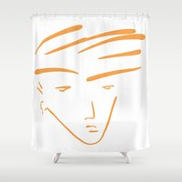 the dude Shower Curtains featuring Dude by thisisddm