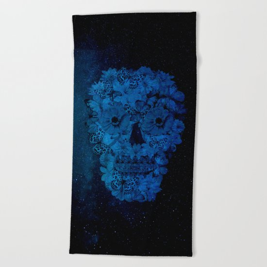 Floral Skull Beach Towel