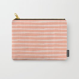 Sweet Life Thin Stripes Peach Coral Pink Carry-All Pouch