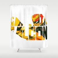 falcon Shower Curtains featuring Captain Falcon by Marukosu