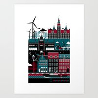 copenhagen Art Prints featuring Copenhagen by koivo