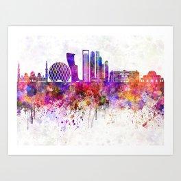 Abu Dhabi V2 skyline in watercolor background Art Print