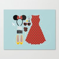 minnie mouse Canvas Prints featuring Minnie Mouse Flatlay by laurenschroer