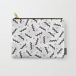 Old School Retro Funky Memphis 80's Pattern Black White Grey Pink Carry-All Pouch