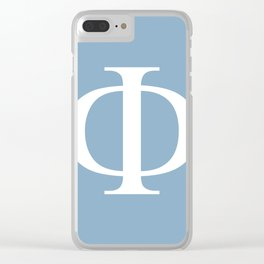 Greek letter Phi sign on placid blue background Clear iPhone Case