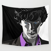 sherlock holmes Wall Tapestries featuring Sherlock Holmes Portrait by Schwebewesen • Romina Lutz