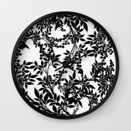 Toile Black and White Tangled Branches and Leaves Wall Clock