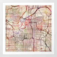 kansas city Art Prints featuring Kansas City by MapMapMaps.Watercolors