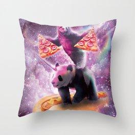 Space Pizza Sloth On Panda Unicorn On Hotdog Throw Pillow