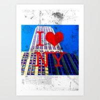 30 rock Art Prints featuring I Love NY - 30 Rock  by Illumination House