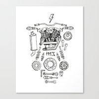 motorcycle Canvas Prints featuring Motorcycle by ElaBaer