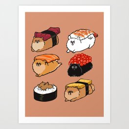 Sushi Pomeranian Art Print