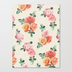 Retro Peach and Pink Roses Canvas Print