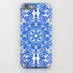 Cobalt Blue & China White Folk Art Pattern iPhone 6 Slim Case