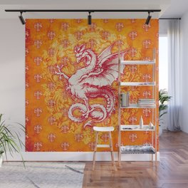 Noble House GINGER FIRE / Grungy heraldry design Wall Mural