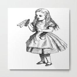 Alice Drink Me Bottle Alice in Wonderland in Black with Transparent Background Metal Print