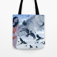 raven Tote Bags featuring Raven by Radical Ink by JP Valderrama