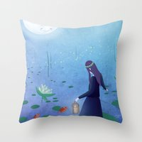 fireflies Throw Pillows featuring Fireflies by germaine caillou