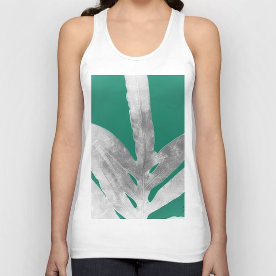 Christmas Fern, Holiday Green with Silver Winter Leaf Unisex Tank Top