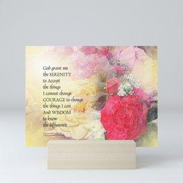 Serenity Prayer Peonies and Roses Mini Art Print
