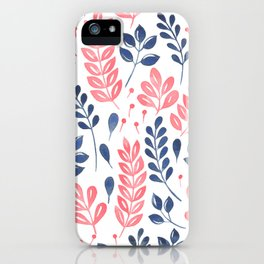 Wistful Floral - Coral and blue iPhone Case