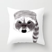 racoon Throw Pillows featuring Racoon by MichaelJenningsDoodleBoy