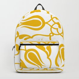 Yellow Turkish Traditional Floral Tile Art Backpack