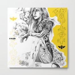 Eurydice among roses Metal Print