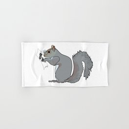 Funny and Cute Squirrel with Glasses Reads Acorn Map Hand & Bath Towel
