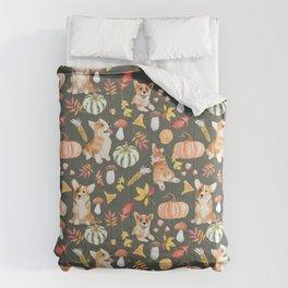 Welsh Corgi Dog Breed Fall Party -Cute Corgis Celebrate Autumn With Pumpkins Mushrooms Leaves - Oliv Green Comforters