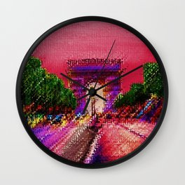 Arc de Triomphe, Paris France Landscape by Jeanpaul Ferro Wall Clock