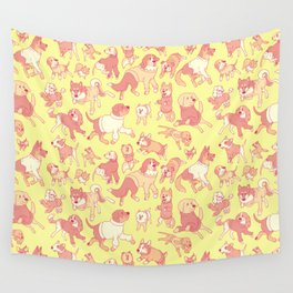 Dogs In Sweaters (Yellow) Wall Tapestry