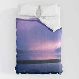 Serene Purple and Pink Waterfront Sunrise Landscape Comforters