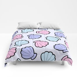 Mermaid Shells Pastel Pattern Comforters