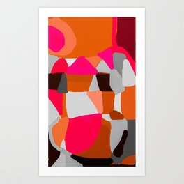 Abstract in Pink, Brown and Grey Art Print