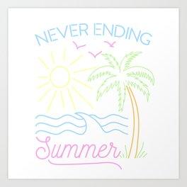 Never Ending Summer - Retrowave Art Print