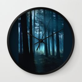 Haunted forest- winter mist in forest Wall Clock