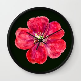 Large Rose Red Flower on Black Bloom Art Petals Watercolor Painting Scatter Throw Cushio  Wall Clock