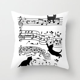 Cat Music Notes Clef Cats Lover Throw Pillow