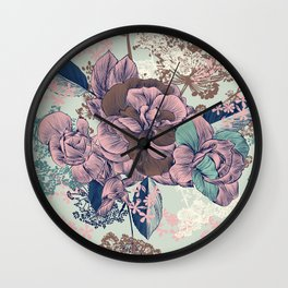 Beautiful pattern design with roses, English Victorian style Wall Clock