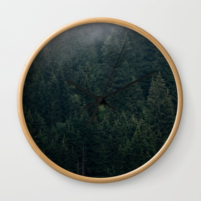 Mystic Pines - A Forest in the Fog Wall Clock
