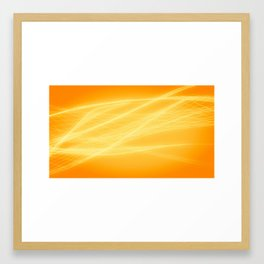 Intertwining yellow lights on an orange background Framed Art Print
