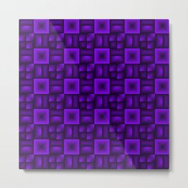 Volumetric pattern of convex squares with violet mosaic rectangular highlights and tiles. Metal Print