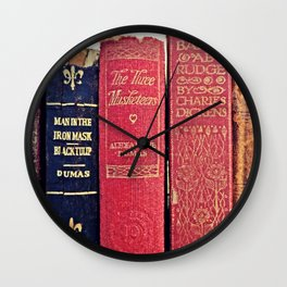 antique books by Dumas and Dickens Wall Clock