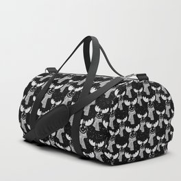 Funny Moose in Winter Snow on Black - Wild Animals - Mix & Match with Simplicity of Life Duffle Bag