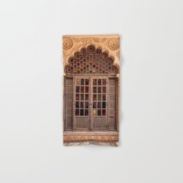 Wooden stained glass door at Jodhpur Fort, India Hand & Bath Towel
