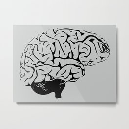 Braaains (black on grey) Metal Print
