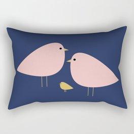 Bird Family in Pink, Navy Blue, and Mustard -  Minimalist Scandinavian Mid-Century Modern Design Rectangular Pillow